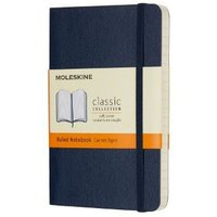 Moleskine Classic Ruled Paper Notebook - Soft Cover and Elastic Closure Journal - Color Sapphire Blue - Pocket 9 x 14 A6 - 192 Pages