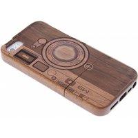 Donkerbruin houten hardcase hoesje met print voor de iPhone 5-5s-SE
