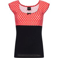 Pussy Deluxe  Red Dots Basic Shirt schwarz / rot allover