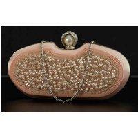 Runde Clutch mit Perlen bestickt Rosé