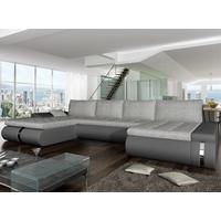 Sofá-cama rinconero, panorámico y reversible de tela y piel sintética AZELMA - Antracita y gris claro