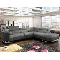 Sofá cama rinconero tapizado de tela y piel sintética MYSEN - Gris y antracita - ángulo derecho