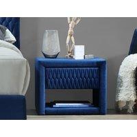 Mesa de noche DANIELE - 1 cajón y 1 estante - Tejido aterciopelado - Azul