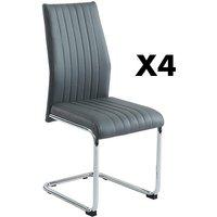 Lote de 4 sillas MAXINE - Piel sintética - Antracita