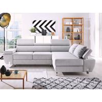 Sofá-cama rinconero GOBANO de tela - Gris claro - Ángulo derecho