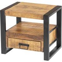 Mesa de noche HARLEM - 1 cajón y 1 estante - Madera de mango y metal