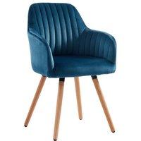Silla con brazos ELEANA - Terciopelo y metal efecto madera - Azul