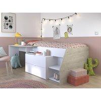 Cama GISELE con escritorio y compartimentos - 90x200cm - Blanco y roble