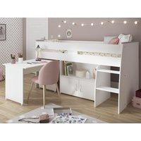 Cama combinada MARCELLE - Con escritorio y compartimentos - 90x200 cm - Blanco