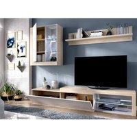 Mueble TV AKABA - con compartimentos - LEDs - Color: roble y blanco