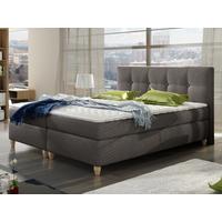PACK Cabecero + somier + colchón + cubrecolchón POUPOUPIDOU de PALACIO - Tela gris - 180x200 cm