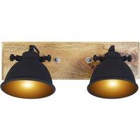 Lote de 2 apliques de estilo industrial FINLEY - Hierro y madera natural - Ancho 44,5 cm - Negro