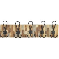 Perchero de 5 ganchos de hierro y madera ECOLIER - 61,5x7x19 cm - Negro y natural