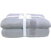 Lote de 2 toallas de baño USUAL- algodón - 90 x 150 cm - Gris