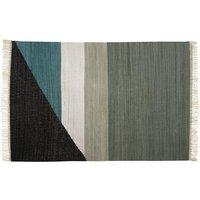 Alfombra kilim tejida a mano de algodón MYCENE - 160x230 cm - Gris, negro, blanco y verde