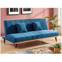 Sofá cama de 3 plazas de terciopelo KERBI - Azul real
