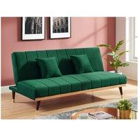 Sofá cama de 3 plazas de terciopelo KERBI - Verde pino
