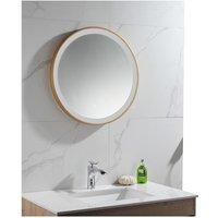 Espejo de baño redondo con luces led NUMEA dorado - Ancho 60 x Alt. 60 cm