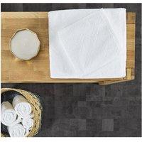 Lote de 2 toallas de baño jacquard 100x150 cm CHINON - 100% algodón - Blanco