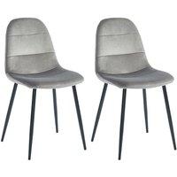 Lote de 2 sillas BENJI - Efecto aterciopelado - Gris