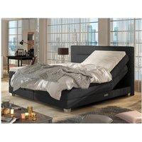 Boxspring completo cabecero elevable + somieres + colchón + cubrecolchón PRIVILEGE de DREAMEA - Tela antracita - 2x80x200cm