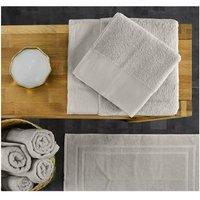 Lote de 4 toallas de baño BLOIS - 100% algodón - 50x100 cm y 70x140 cm - Gris claro