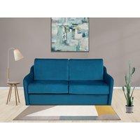 Sofá-cama italiano de 3 plazas de terciopelo COTIO - Azul