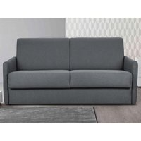 Sofá cama italiano 3 plazas de tela CALIFE - Gris claro - Cama 140 cm - Colchón 14cm