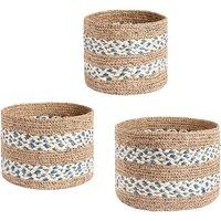Juego de 3 cestas SIA de yute DALEA - D. 20 , 22 y 25 cm - natural, beige y azul