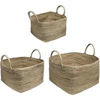 Juego de 3 cestas SIA de yute LUCIEN con asas - D. 35 , 40 y 45 cm - natural