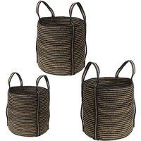 Juego de 3 cestas SIA de yute MENIA con asas - D. 35 , 40 y 45 cm - natural y negro