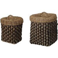Juego de 2 cestas SIA de junco de mar y algodón ORIA - Alt. 58 y 51 cm - con tapas - Natural y negro