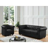 Sofá de 3 plazas de piel de búfalo CHESTERFIELD - Negro