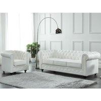 Sofá de 3 plazas de piel de búfalo CHESTERFIELD - Blanco