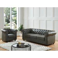Sofá de 3 plazas de piel de búfalo CHESTERFIELD - Gris