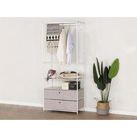 Armario ropero STANDFORD con compartimentos - metal - Blanco y beige