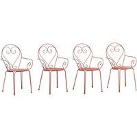 Lote de 4 sillas de jardín de metal estilo hierro forjado GUERMANTES - Terracota