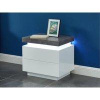 Mesa de noche HALO II - 2 cajones - MDF lacado - Con LEDs - Color: blanco y cemento
