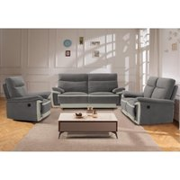 Sofá de 3 plazas relax eléctrico de terciopelo METTI - Gris y bandas crudo