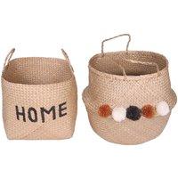 Juego de 2 cestas de junco de mar HOMMY - Alt. 31 y 44 cm - natural