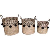 Juego de 3 cestas de junco de mar étnico con pompones NILLA - natural y negro