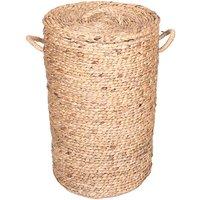 Cesta de jacinto de agua con tapa POLLY - D. 40 x Alt. 65 cm - natural