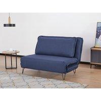 Sofá cama de 2 plazas de tela LOOF - Azul oscuro
