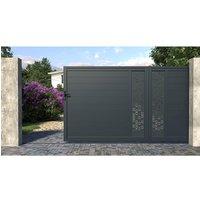 Portón corredero de aluminio NOIRAM - Ancho 392 x Alt. 173 cm