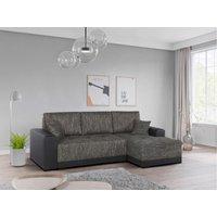 Sofá cama rinconero tapizado de tela y piel sintética JARED - Bicolor gris y negro - Ángulo derecho