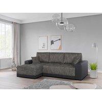 Sofá cama rinconero tapizado de tela y piel sintética JARED - Bicolor gris y negro - Ángulo izquierdo