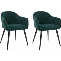 Juego de 2 sillas BIBO - con brazos - Metal con acabado aterciopelado - Verde