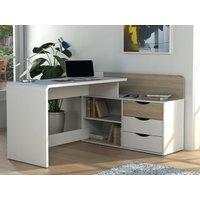 Escritorio rinconera DECLAN II - MDF - 3 cajones y 2 estantes - Color: blanco y roble