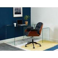Silla de escritorio TIMO - Piel sintética y contrachapado - Negro - Altura ajustable