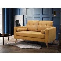 Sofá de 2 plazas de tela con efecto lana TATUM - Amarillo